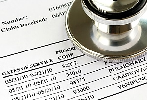 Medical bills with itemized list of expenses