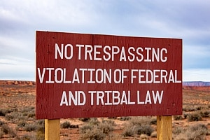 Sign stating tribal law
