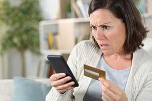 Woman reporting identity fraud