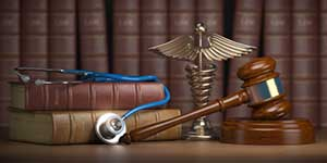 Gavel and Roswell personal injury law books