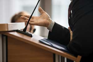 Personal injury attorney representing client in court