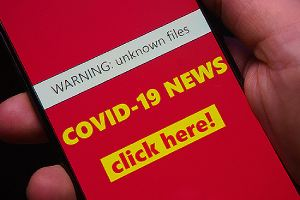 COVID-19 fake news concept. There various types of consumer fraud