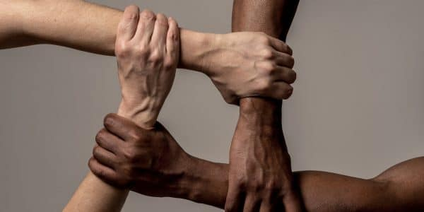Image depicting race uniting against discrimination and racism