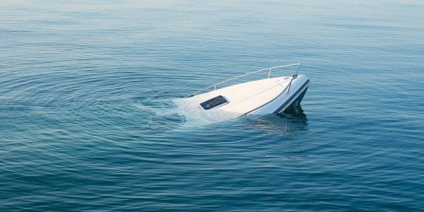 Sinking boat after a fatal boating accident